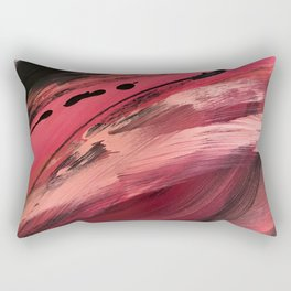Entangled [2]: a vibrant, colorful abstract mixed-media piece in reds, pinks, black and white Rectangular Pillow