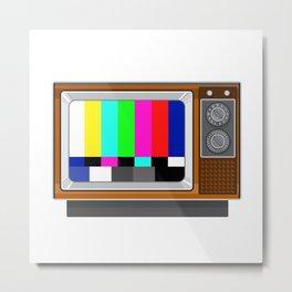 Retro Television Set TV Test Card Signal Pattern Metal Print