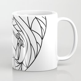 Fly Fisherman Catching Trout Mosaic Black and White Coffee Mug