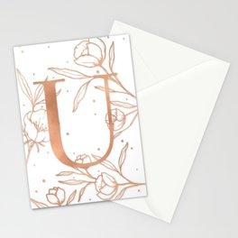 Letter U Rose Gold Monogram / Initial Botanical Illustration Stationery Cards