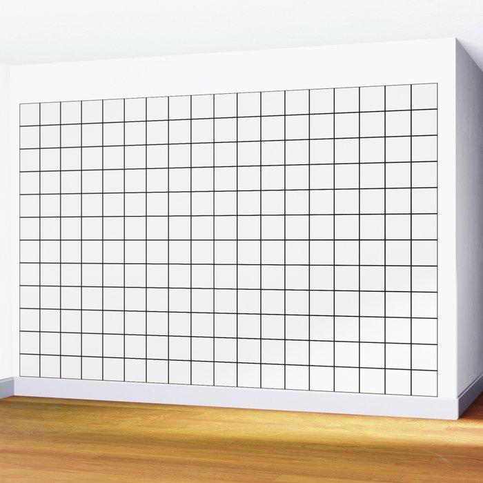 Grid Stripe Lines Black and White Minimalist Geometric Wall Mural