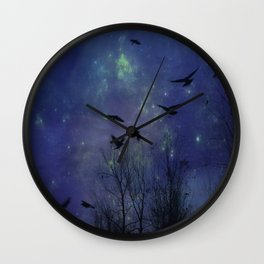 Celestial Night Of Crows Wall Clock