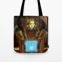 1984 Tote Bags featuring 1984  by Cassandra Siemon C.M. Laserfield