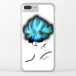 Fashion model looking chic and cool with her turquoise hair Clear iPhone Case