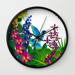 Tropical Hummingbird Pattern 1 Wall Clock