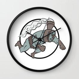 Super Locomotive Punching Cartoon Wall Clock