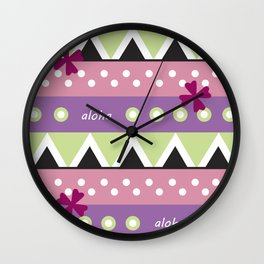 Pink Hawaiian Tapa Wall Clock