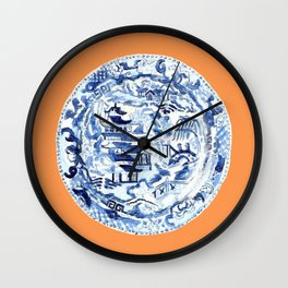 CHINOISERIE PLATE ON TANGERINE Wall Clock