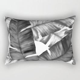Black And White Tropical Banana Leaves Pattern Rectangular Pillow