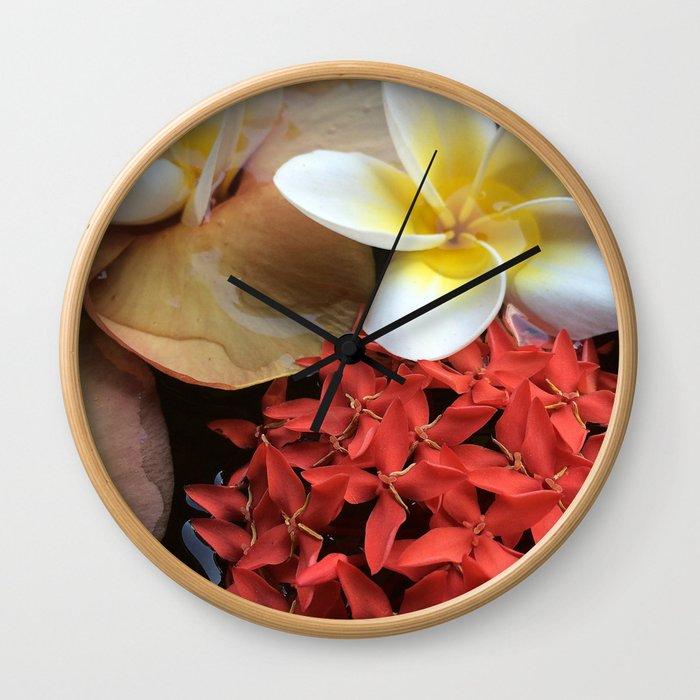 Frangipani & Ixora Wall Clock