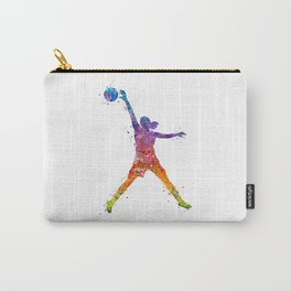 Girl Basketball Player Watercolor Art Colorful Sports Artwork Carry-All Pouch