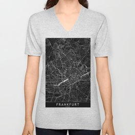 Frankfurt Black Map Unisex V-Neck