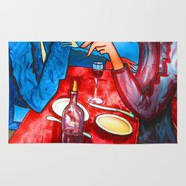 Two friends drinking wine and having dinner Rug
