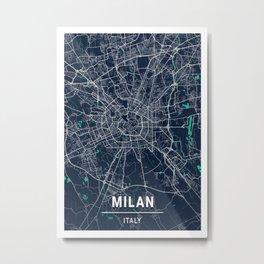 Milan Blue Dark Color City Map Metal Print
