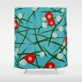 Japenese Water Flowers Pattern Shower Curtain
