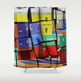 Colorful container wall board Shower Curtain