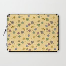 Colorado Aspen Tree Leaves Hand-painted Watercolors in Golden Autumn Shades on Butter Yellow Laptop Sleeve