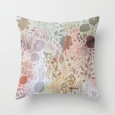 Brown Watercolour Meadow Throw Pillow