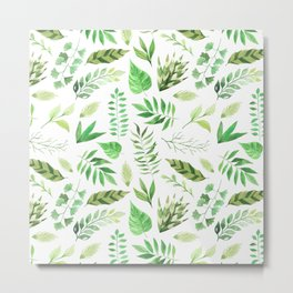 Artistic hand painted forest green watercolor leaves pattern Metal Print