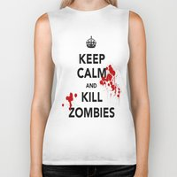 zombies Biker Tanks featuring ZOMBIES by Tania Joy