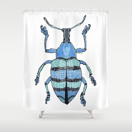 Upholstered Blue Weevil Shower Curtain