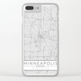 Minneapolis Map - Black and White (Light) Clear iPhone Case