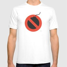 No Bombing Allowed White MEDIUM Mens Fitted Tee