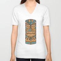 tiki V-neck T-shirts featuring Tiki by Brad Hansen