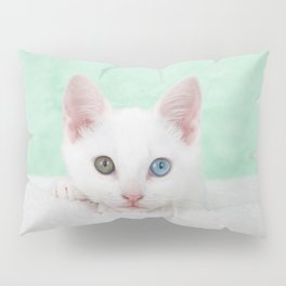 Portrait of a white kitten with heterochromia Pillow Sham