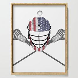 Lacrosse Helmet and Sticks, American Flag Lax Helmet T-Shirt Serving Tray