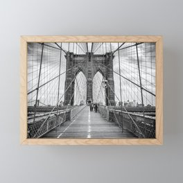 Brooklyn Bridge, New York City (rustic black & white) Framed Mini Art Print