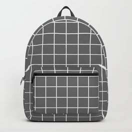 Dim gray - grey color - White Lines Grid Pattern Backpack