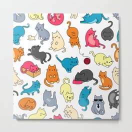 Meow Mix - Cat Pattern Metal Print