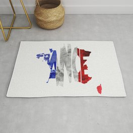 France Typographic World Map / France Typography Flag Map Art Rug