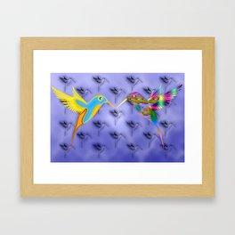 Fantasy birdies pattern Framed Art Print
