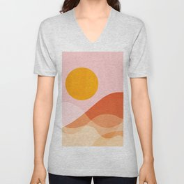 Abstraction_Mountains_SUN_Beach_Ocean_Minimalism_001 Unisex V-Neck