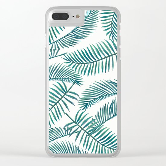 Palm Leaf Pattern Clear iPhone Case