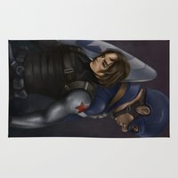 winter soldier Area & Throw Rugs featuring The Soldier and the Captain. by toibi