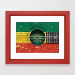 Old Vintage Acoustic Guitar with Ethiopian Flag Framed Art Print