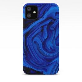 Blue Liquid Marbled texture iPhone Case