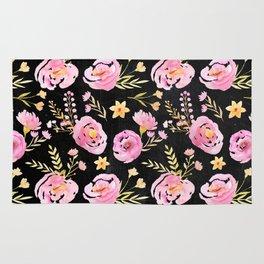 Delicate Poppy Pattern On Chalkboard Rug