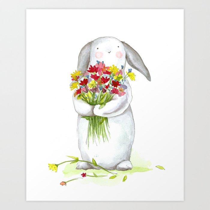 Flower Bunny Nursery Art For Children Print