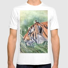Bengal Tiger MEDIUM White Mens Fitted Tee