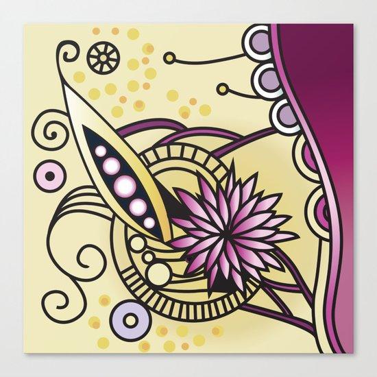 Ornate square zentangle, Naples Yellow Hue Canvas Print