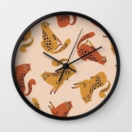 Yellow Orange Leopard Spots Sensual Chubby Butt Kitty Cats Pattern Wall Clock