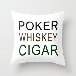 Poker Whiskey Cigar Throw Pillow