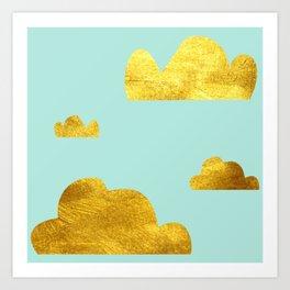 Gold cloud blue Art Print