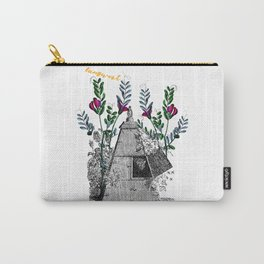 Vintage Beehive with Flowers Carry-All Pouch