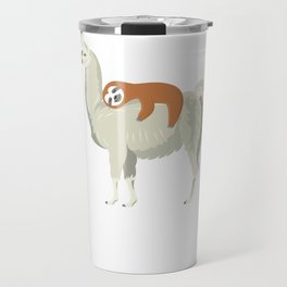 Cute & Funny Sloth Sleeping on Llama Travel Mug