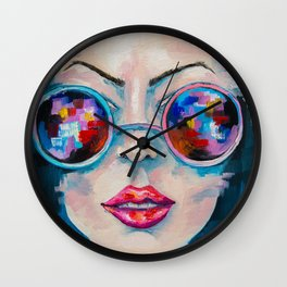 Girl in sunglasses Wall Clock